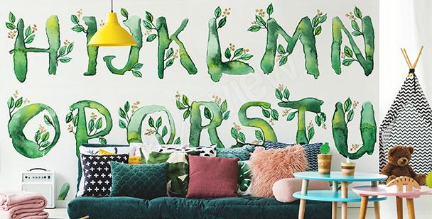 Fototapete Alphabet mit Blättern