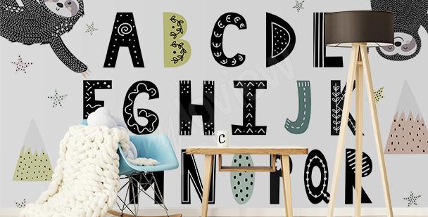 Fototapete Alphabet und Faultiere