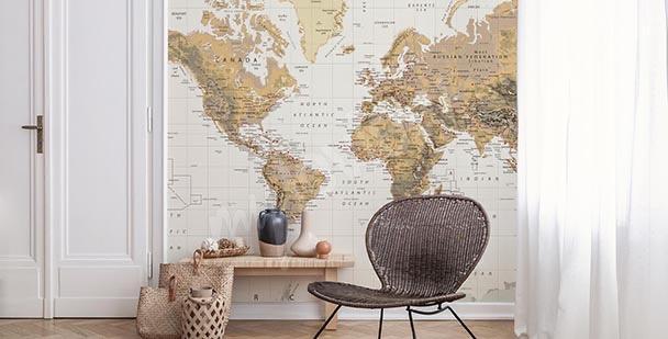 Fototapete Retro-Landkarte: Kontinente