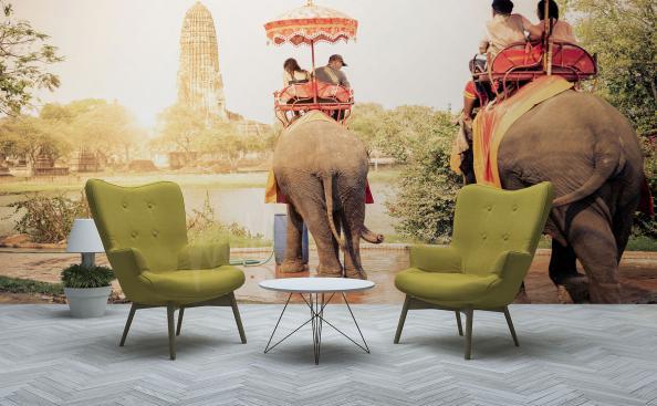 Fototapete Asien Touristen auf Elefanten
