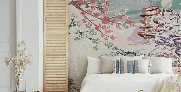 Fototapete Asien und Kirschblüten