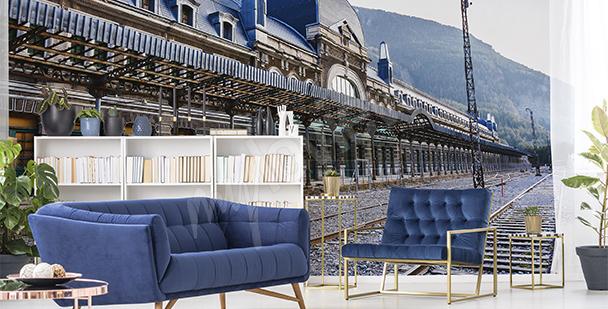 Fototapete Bahnhof in den Bergen