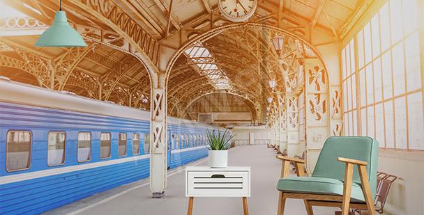 Fototapete Bahnhof in Sepia