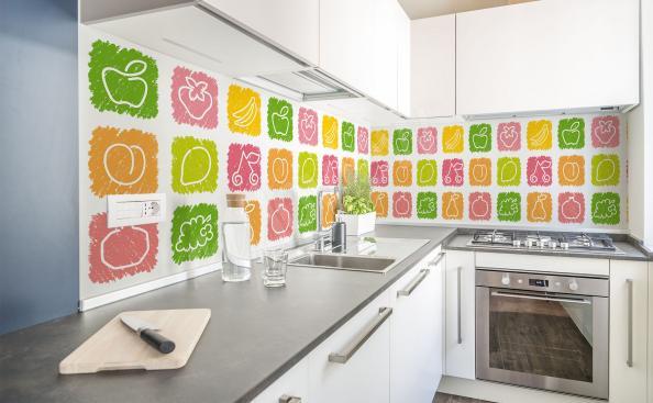 Fototapete buntes Obst für die Küche