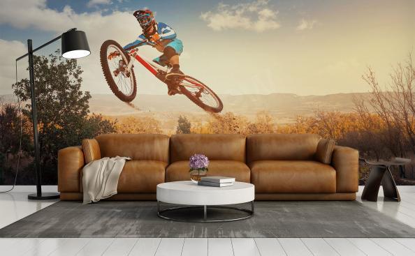 Fototapete Fahrrad und Landschaft