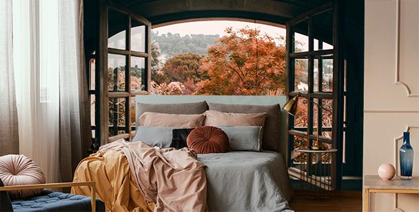 Fototapete Fenster mit Blick auf den Wald