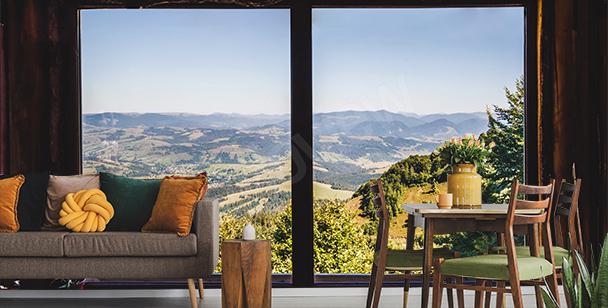 Fototapete Fenster mit Blick auf die Berge