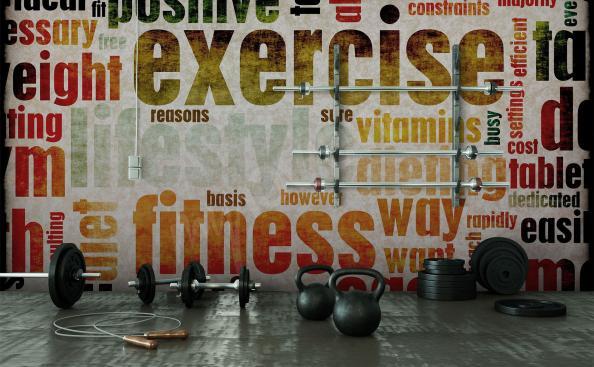 Fototapete Fitness mit Untertiteln