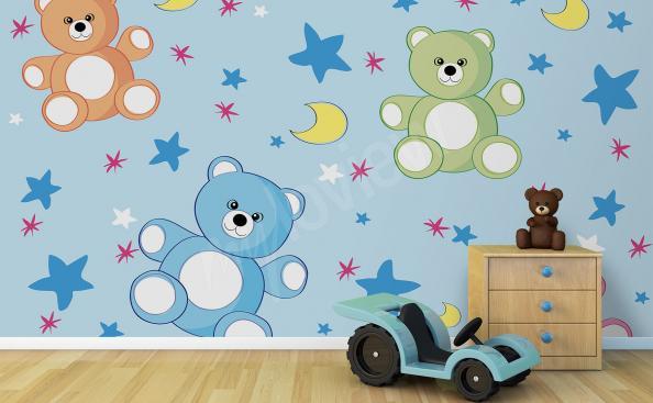 Fototapete für den Kindergarten bunte Teddys