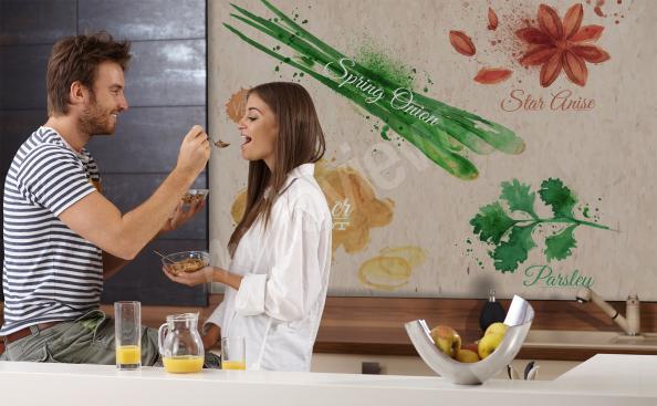 Fototapete für die Küche mit Gewürzen
