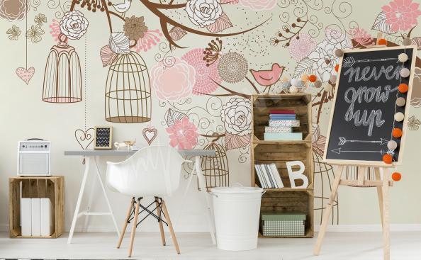 Fototapete für Mädchenzimmer Vögel und Blumen
