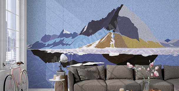 Fototapete grafische Berglandschaft