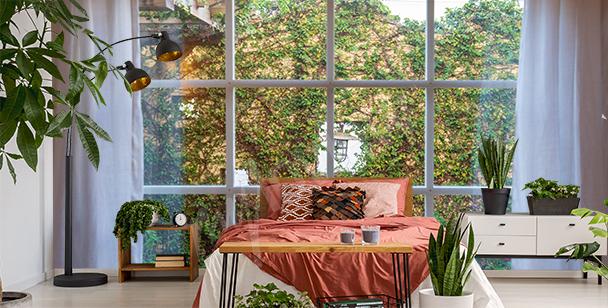 Fototapete Grün vor dem Fenster