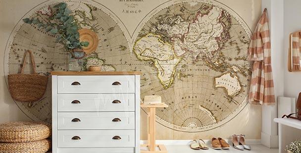 Fototapete Retro-Landkarte fürs Büro