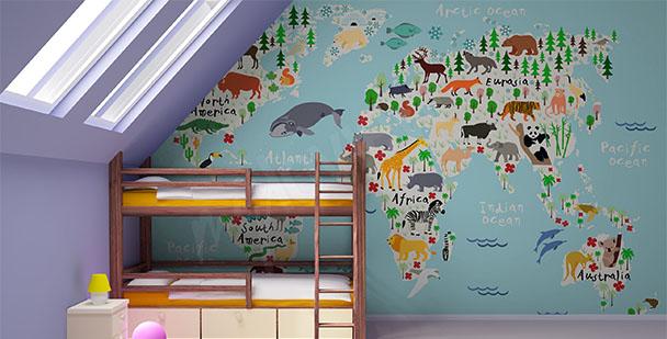 Fototapete Karte aus Tieren