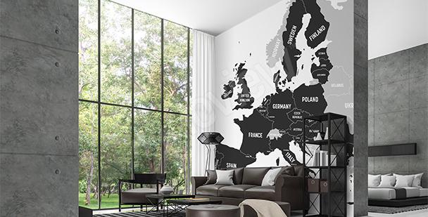Fototapete Karte mit den EU-Ländern