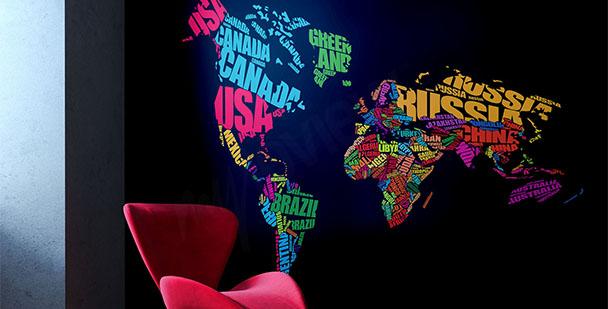 Fototapete Karte und Kontinente