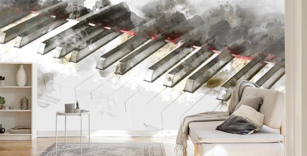 Fototapete Klavier in Aquarell