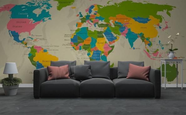 Fototapete Kontinente auf der Weltkarte fürs Wohnzimmer