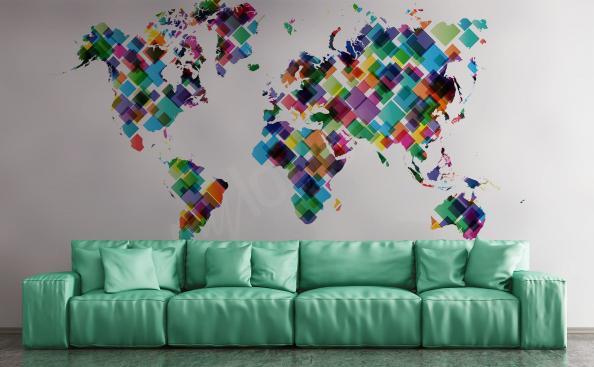 Fototapete Kontinente Weltkarte