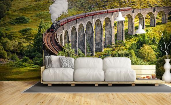 Fototapete Landschaft mit einem Zug
