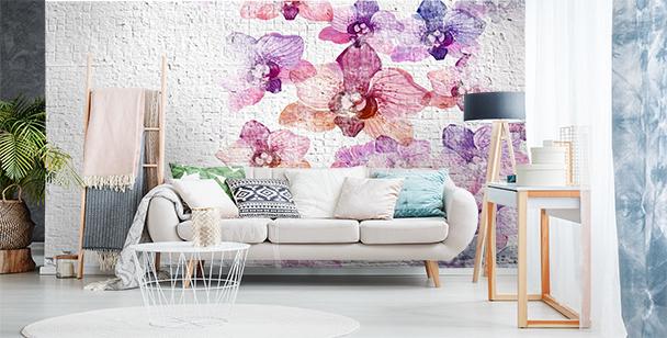 Fototapete Mauer mit Blumen