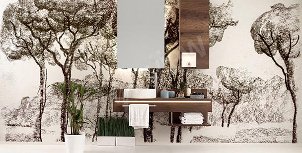 Fototapete mit Bäumen fürs Badezimmer