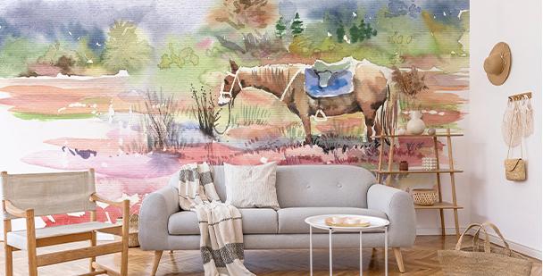 Fototapete mit einem Pferd in Aquarell