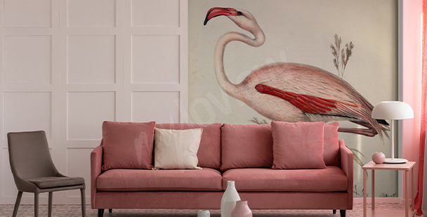 Fototapete mit Illustration Flamingo