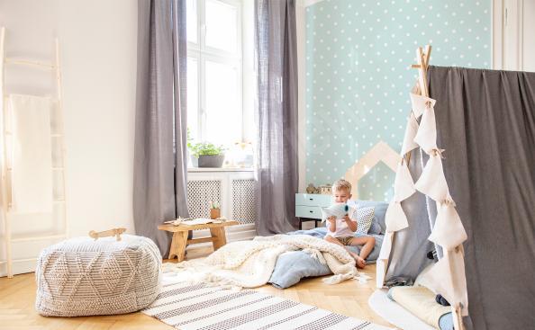 Fototapete mit Punkten für ein Kinderzimmer
