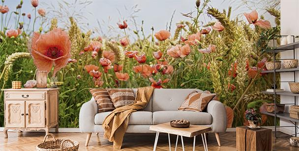 Fototapete Mohnblumen und Weizen