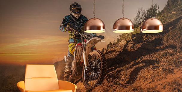 Fototapete Motorrad Sonnenuntergang