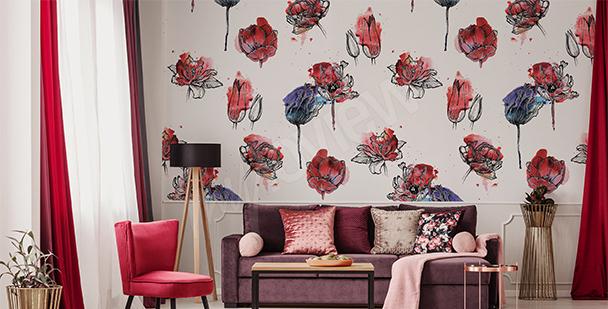 Fototapete Muster mit Tulpen