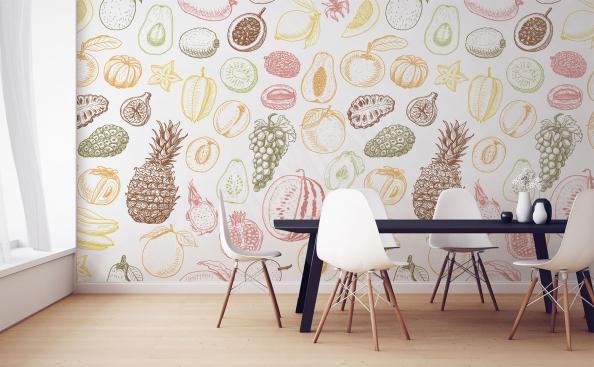 Fototapete Obst Muster fürs Esszimmer
