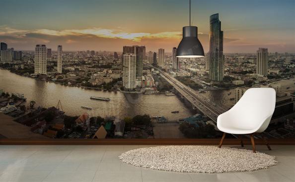 Fototapete Panorama der Stadt mit dem Fluss