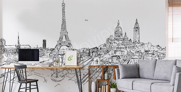 Fototapete Paris schwarz-weiß