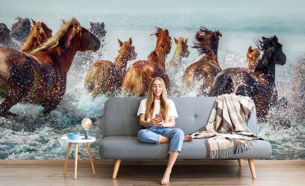 Fototapete Pferde im Wasser