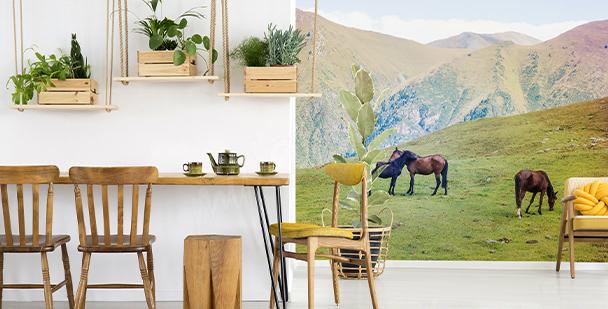 Fototapete Pferde in den Bergen