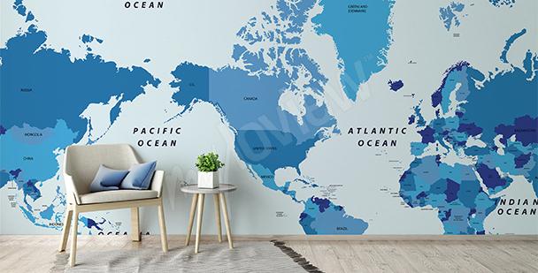 Fototapete politische Karte Kontinente