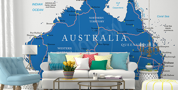 Fototapete politische Karte von Australien