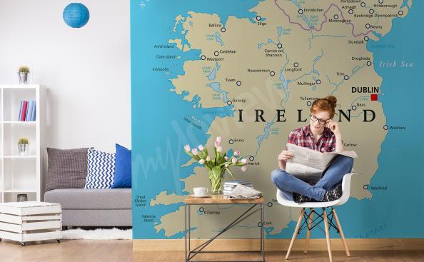 Fototapete politische Weltkarte von Irland