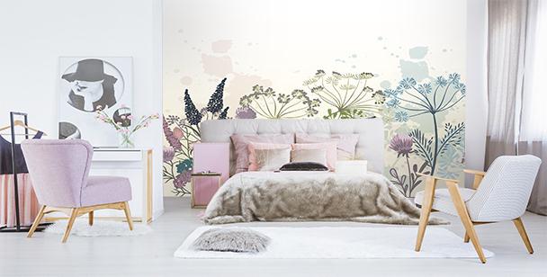 Fototapete Pusteblumen und Blumen