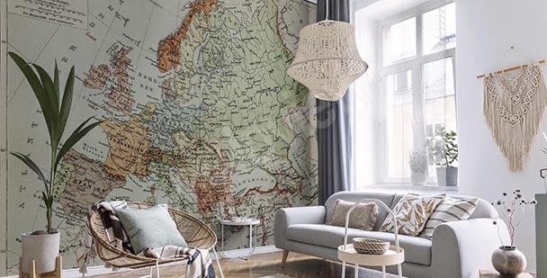 Fototapete Retro-Landkarte in Grautönen