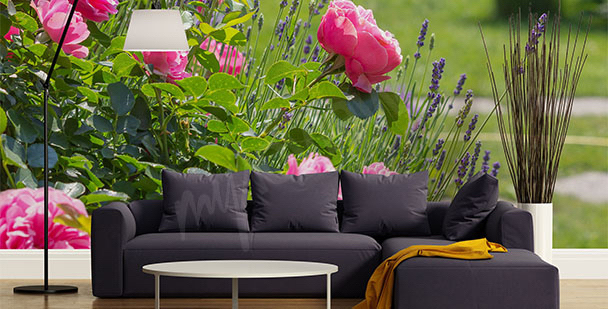 Fototapete Rosen und Lavendel