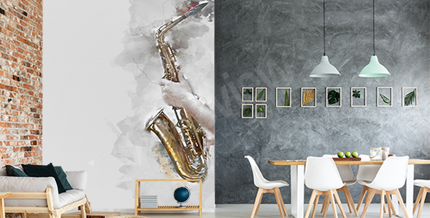 Fototapete Saxophon in Aquarell