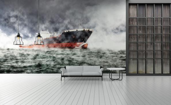 Fototapete Schiff während eines Sturms