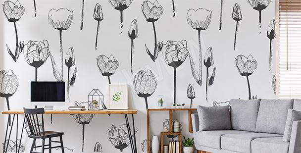Fototapete schwarz-weiße Tulpen