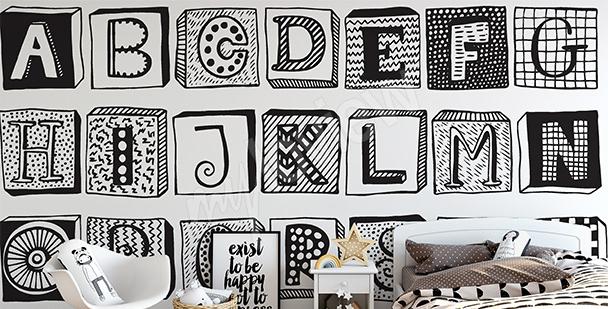 Fototapete schwarz-weißen Buchstaben