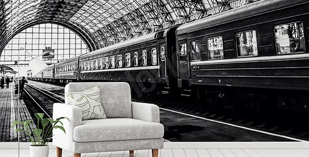 Fototapete schwarz-weißer Bahnhof