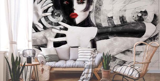 Fototapete schwarz-weißes Porträt